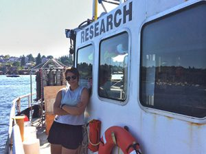 Anita on a research boat